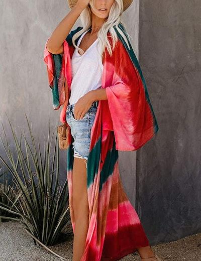 Relipop Sheer Chiffon Kimono Cardigan