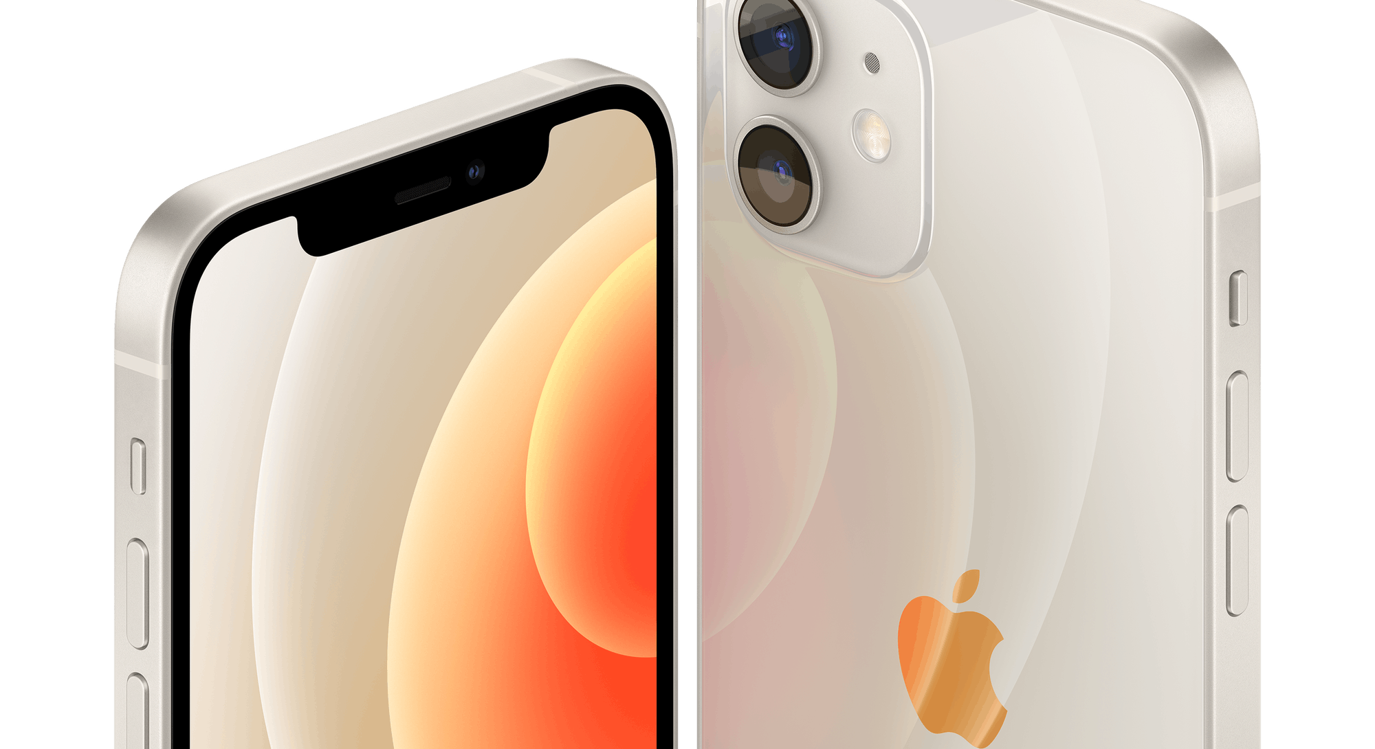 two iPhone 12s in white