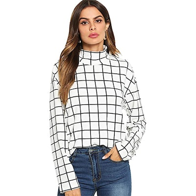 Floerns Oversized Plaid Mock Neck Top