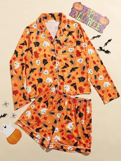 Romwe Halloween Pattern Contrast Piping PJ Set
