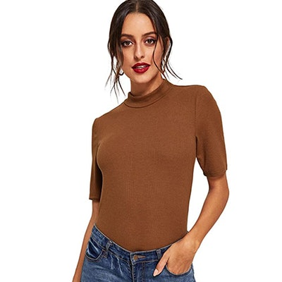 SheIn Mock Neck Half Sleeve Ribbed Knit Tee