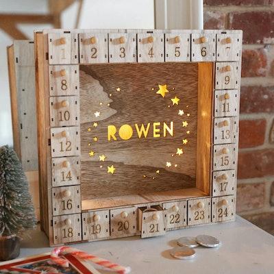 Lisa Angel Personalised Wooden Stars Advent Calendar Light Box