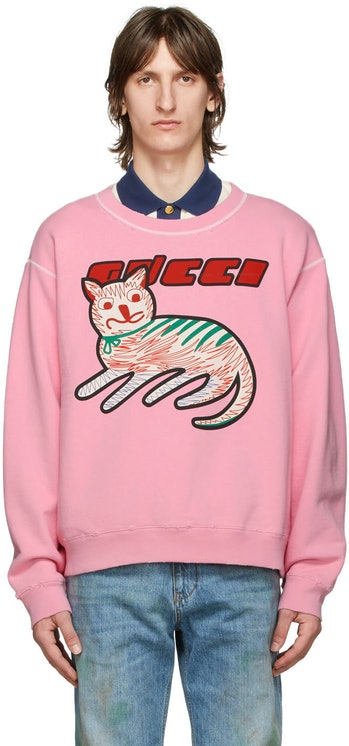 Gucci Pink Logo Cat Sweatshirt