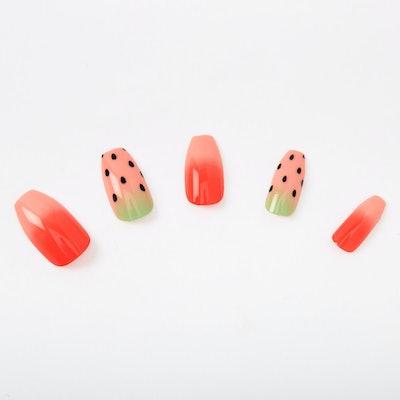 Watermelon Coffin Faux Nail Set - 24 Pack