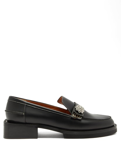 Crystal-Embellished Leather Loafers