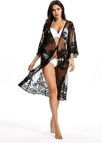 Jeasona Lace Crochet Cover-Up Kimono