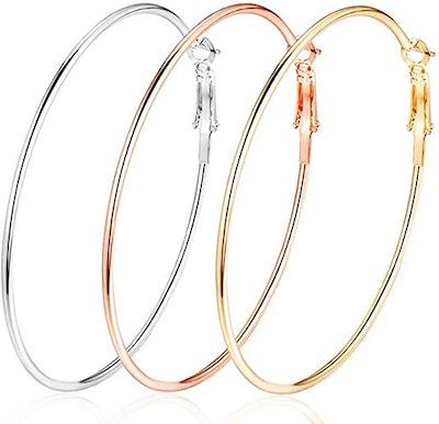 Cocadant 14-Karat Gold-Plated Hoop Earrings (Set of 3 Pairs)