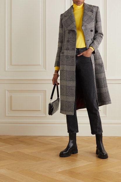 Penelope faux patent leather-trimmed Prince of Wales checked tweed coat