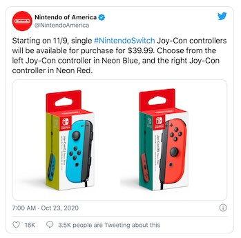 Nintendo dropped the price of its Joy-Con controllers to $40, down from $50.