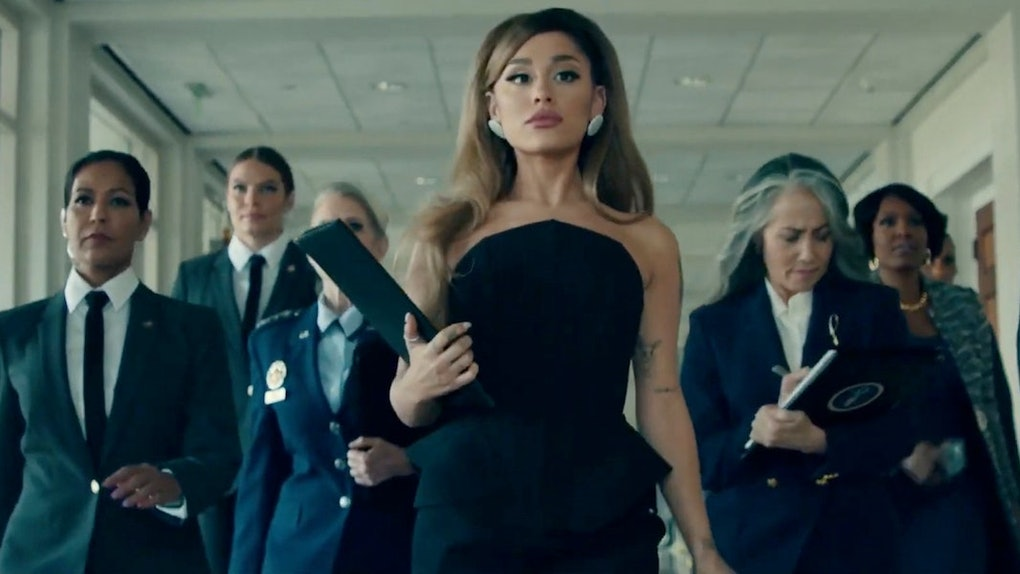"""A screenshot from Ariana Grande's """"Positions"""" music video."""