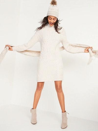 Variegated-Knit Mock-Neck Sweater Dress