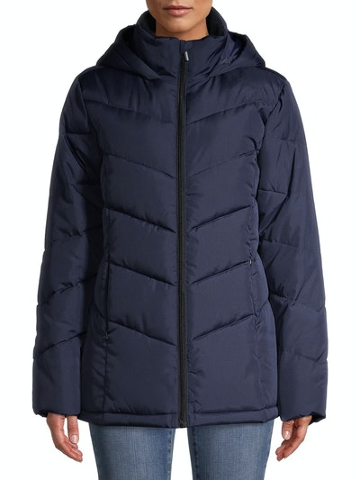 Chevron Quilted Puffer Short Jacket