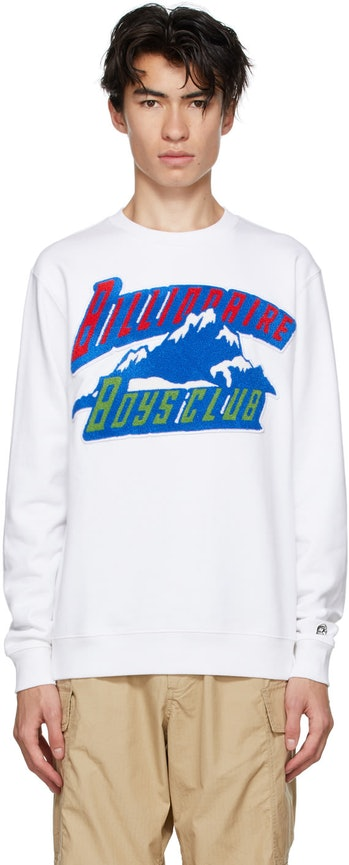 Billionaire Boys Club White Chenille Mountain Logo Sweatshirt