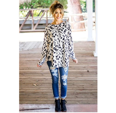 Tickled Teal Leopard Sweater