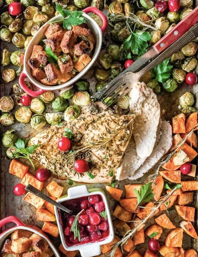 Cranberry sauce, turkey, stuffing sheet pan