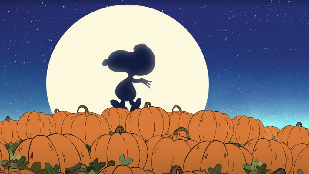 Snoopy walks along some pumpkins in 'It's the Great Pumpkin, Charlie Brown.'