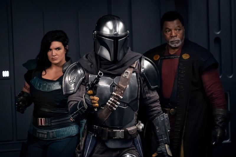 Mando, Cara Dune, and Greef Karga in 'Mandalorian' Season 2, via Disney+ press site.