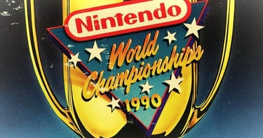 A sign for the Nintendo World Champions 1990