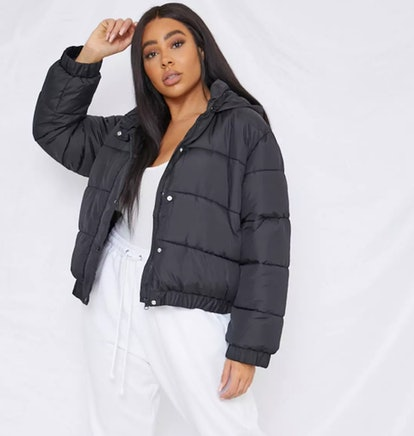 Missguided Plus Size Black Hooded Puffer Jacket