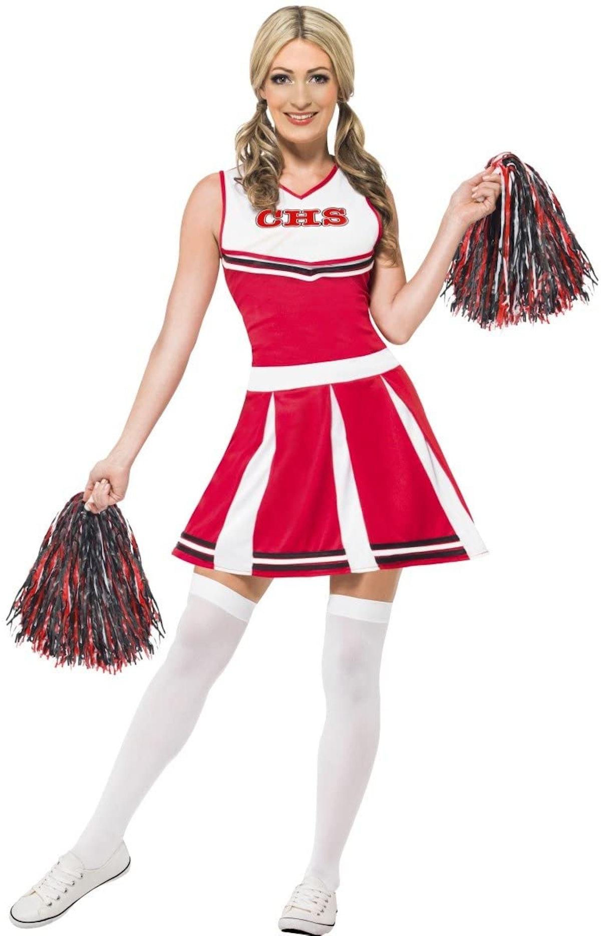 Smiffys Women Cheerleader Costume, Red