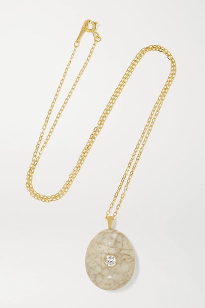 Network 18-Karat Gold, Stone and Diamond Necklace