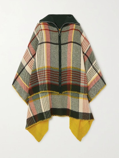 Checked Wool And Cashmere-Blend Poncho
