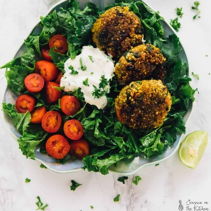 This quinoa pattie salad recipe is a great warm salad recipe to try in the winter