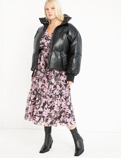 Eloquii Faux Leather Puffer Coat