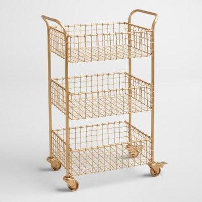 Gold Wire Basket 3 Tier Antonia Rolling Cart