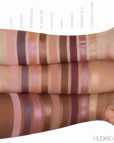 Huda Beauty Naughty Nude Eyeshadow Palette shade swatches on three skin tones.