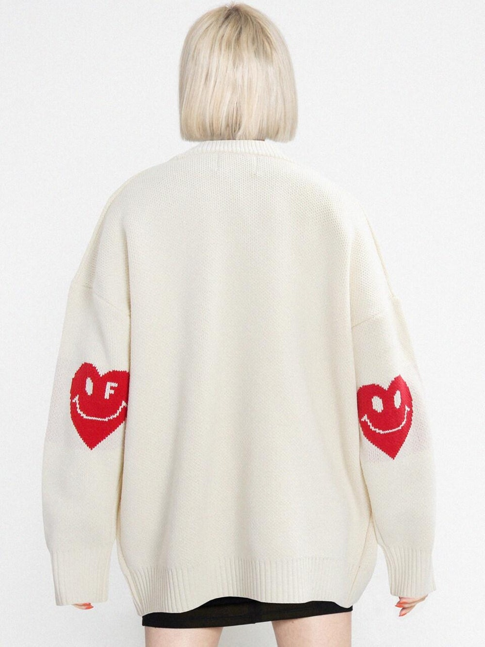 Elbow Heart Smile Knit Cardigan Cream