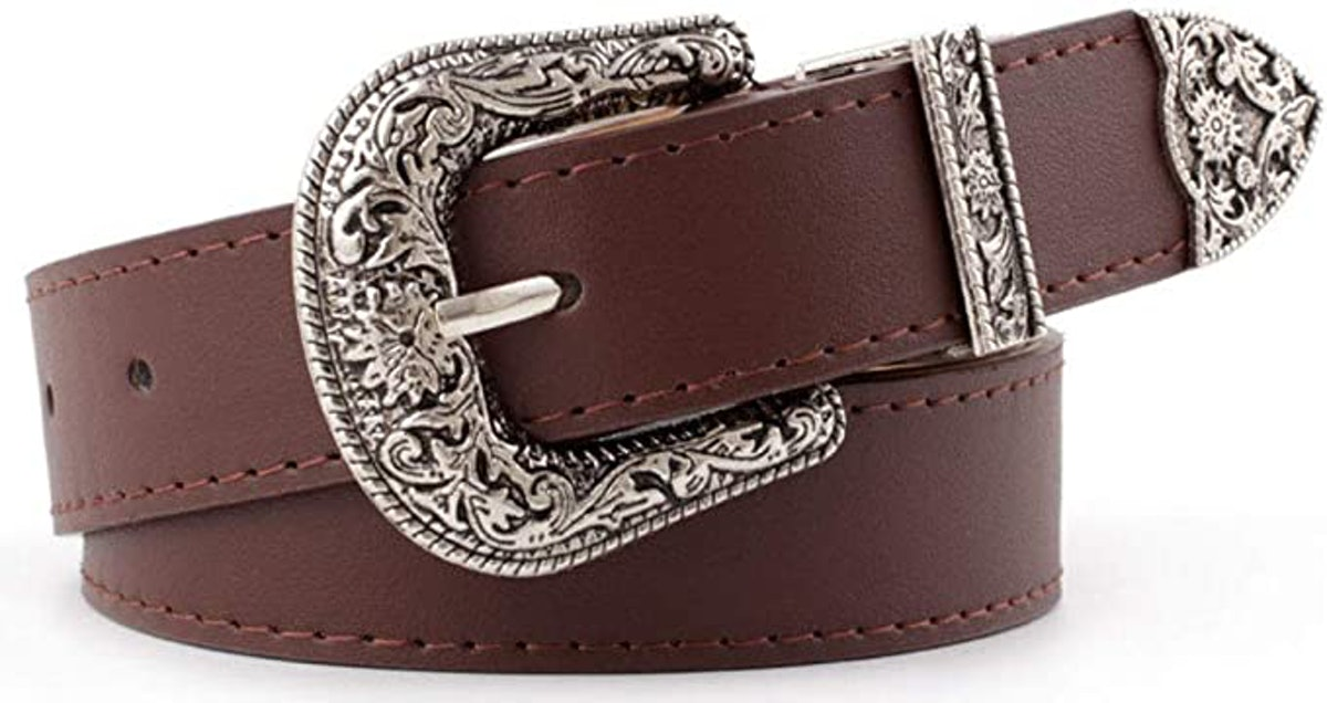INOGIH Western-Leather-Belts-Women Vintage Waist-Belts with Hollow Out Flower Buckle