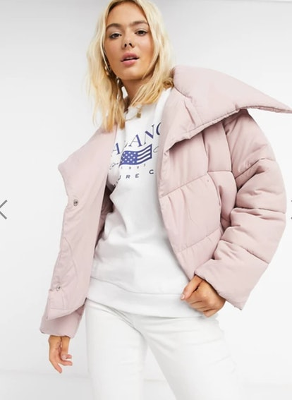 ASOS DESIGN Asymmetric Puffer Jacket in Baby Pink