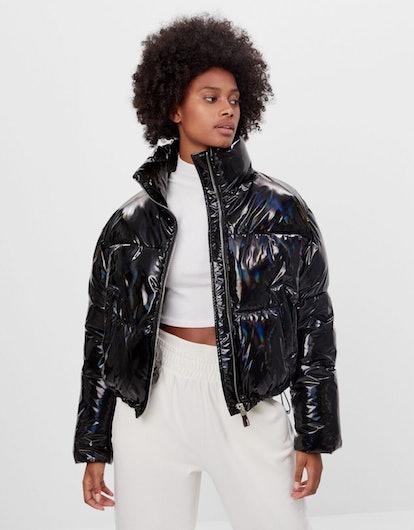Bershka Holographic Puffer Jacket