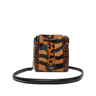 Grace Tiger-Print Haircalf Drawstring Bag