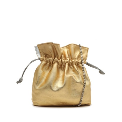 Liv Metallic Leather Bucket Bag