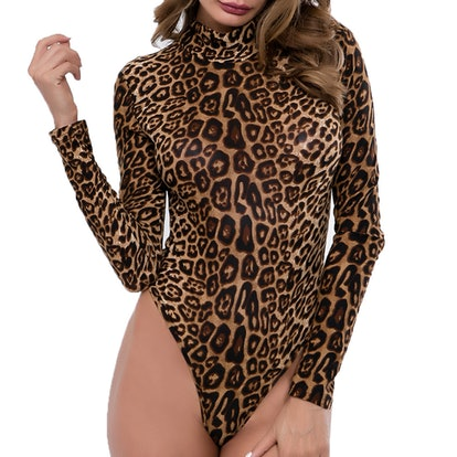 FOCUSNORM Women Long Sleeve Leopard Print Bodysuit