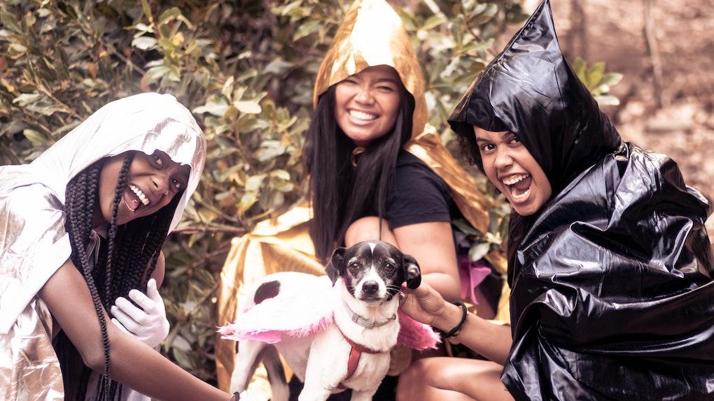 3 young women on Halloween
