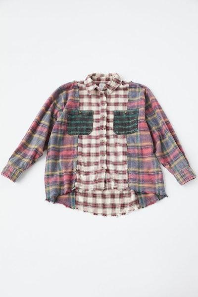 BDG Kaden Mixed Plaid Button-Down Shirt