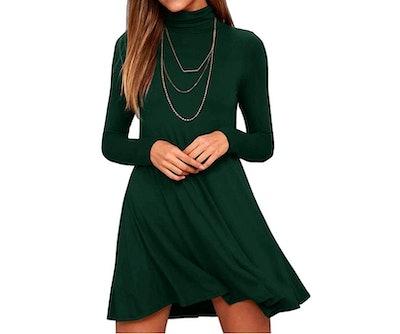 KEEDONE Turtleneck Loose T-Shirt Dresses