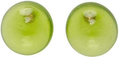 Green Blown Glass Earrings
