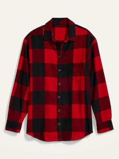 Old Navy Oversized Plaid Flannel Boyfriend Tunic Shirt