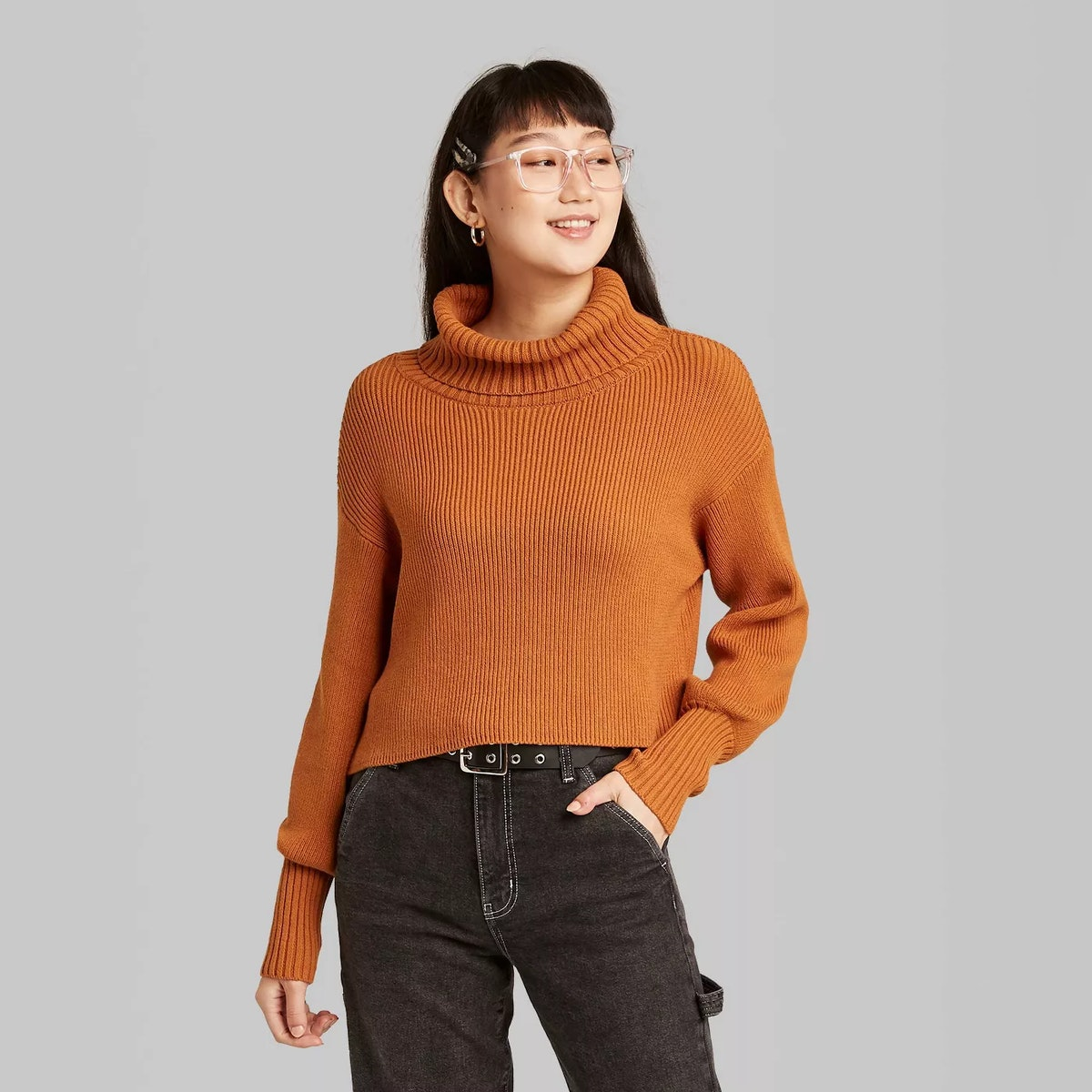 Wild Fable Women's Turtleneck Cropped Pullover Sweater