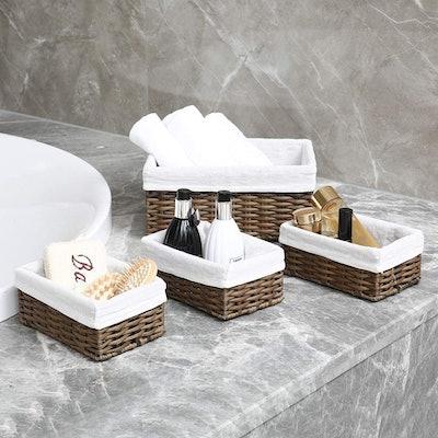 HOSROOME Handmade Wicker Storage Baskets (4-Pack)