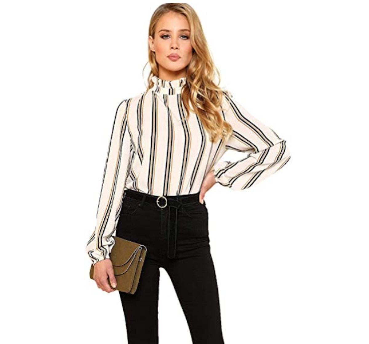 Romwe Elegant Printed Stand Collar Blouse