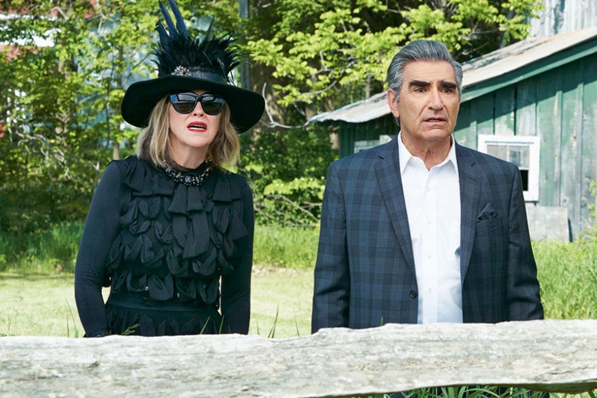 Johnny and Moira make great last-minute Schitt's Creek Halloween couples costumes.