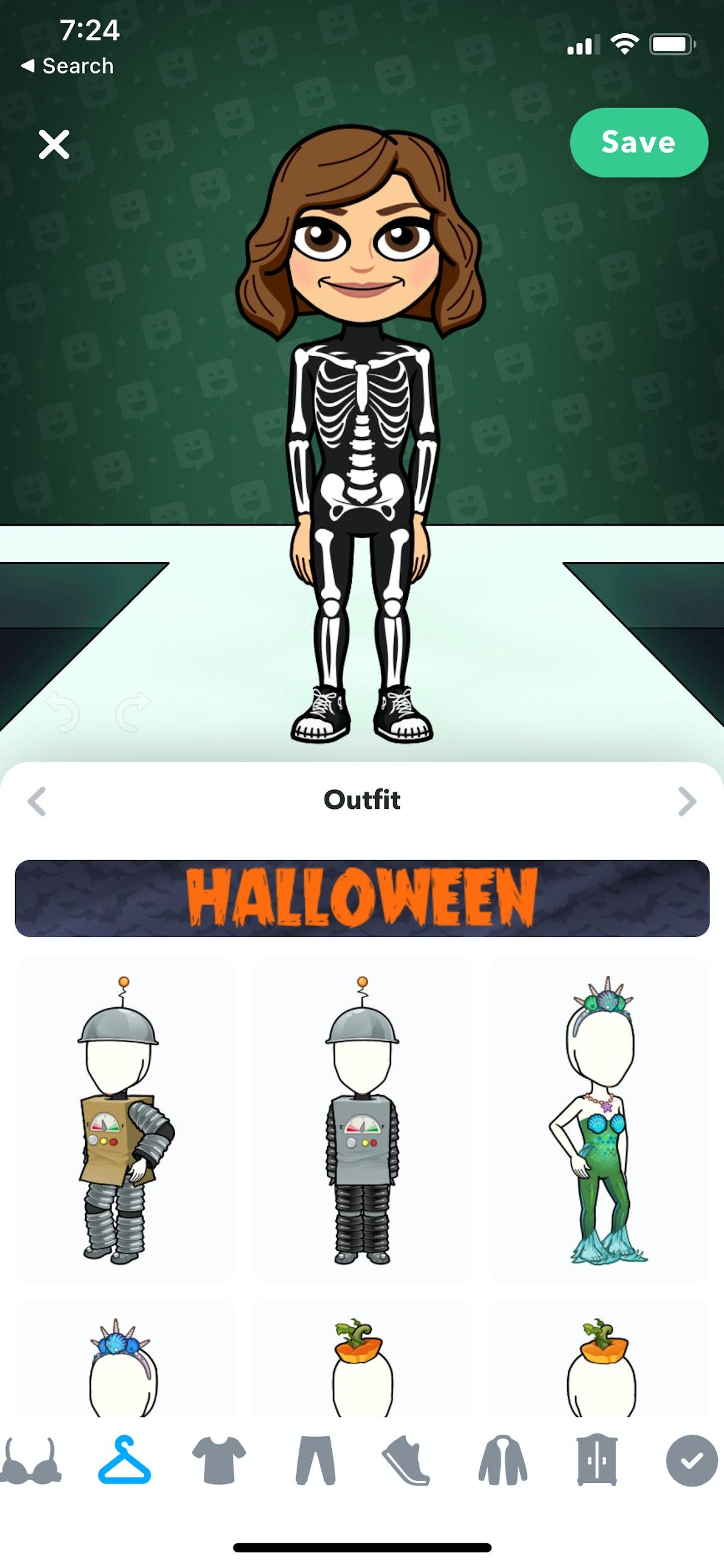 Dress up your Bitmoji in one of three new Halloween costumes.