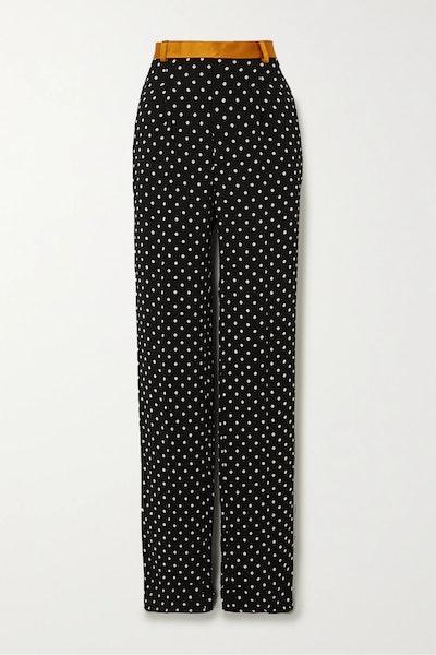 Silk-satin and grosgrain-trimmed polka-dot crepe wide-leg pants