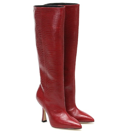 Parton croc-effect leather knee-high boots