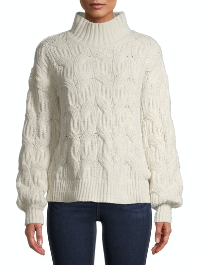 Time and Tru Women's Mockneck Cable Knit Sweater